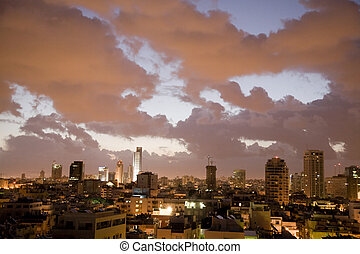 Tel Aviv - Early morning with clouds in Tel Aviv