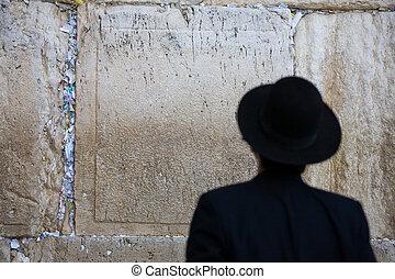 Praying jew - Praying Jew on Jerusalem Western wall during...