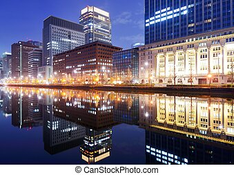 Marunouchi Business District in Tokyo, Japan.