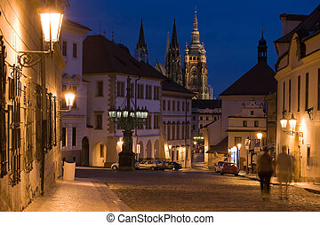 Sunset in Prague - Sunset with Prague castle and lane on...