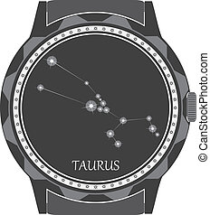 The watch dial with the zodiac sign Taurus. Vector