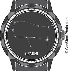 The watch dial with the zodiac sign Gemini. Vector