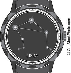 The watch dial with the zodiac sign Libra. Vector