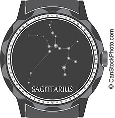 The watch dial with the zodiac sign Sagittarius. Vector