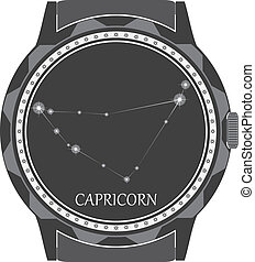 The watch dial with the zodiac sign Capricorn. Vector