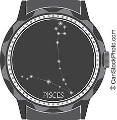 The watch dial with the zodiac sign Pisces. Vector
