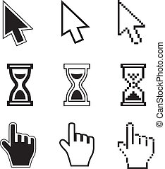 Pixel cursors icons-arrow, hourglass, hand mouse. Vector...