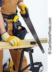 Mature Contractor The carpenter - Contractor working with...