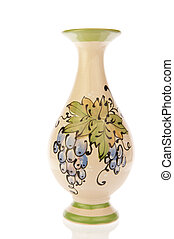 Vase ornate with blue grapes