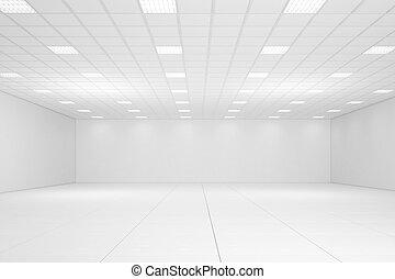 vazio, branca, sala