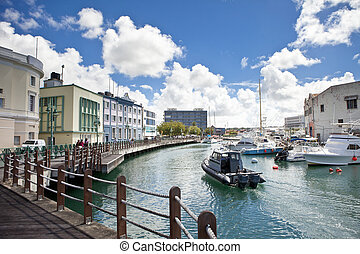 waterfront in Bridgetown, Barbados - downtown marina of...