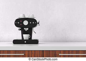 Coffee maker with white wall and copy space