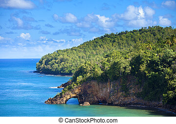 land bridge on st lucia - land bridge on the caribbean, st...