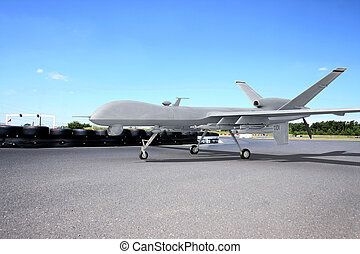 Predator comabt drone on ground with blue sky