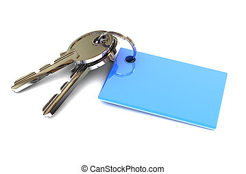 Keys with a Blank Blue Keyring - A Colourful 3d Rendered...