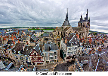 City of Blois, France - Blois, view from the Castle on a...