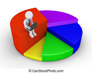 Businessman with laptop sitting on pie chart