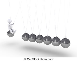 Person sitting on sphere of Newton's cradle - 3d person...