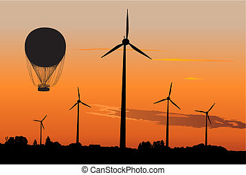 Wind generators Air Balloon - Silhouette of four...