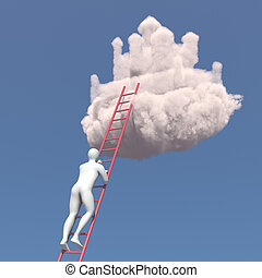 Abstract white man climbs to the cloud castle in the sky