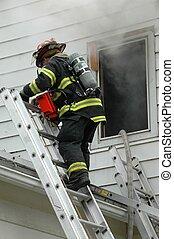 bombero, escalera