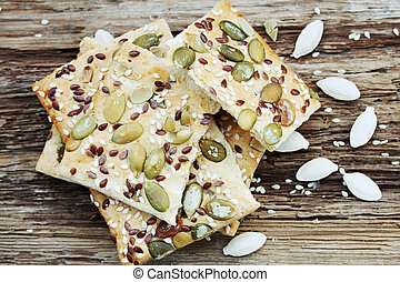 pastry with pumpkin seeds - Cookies with pumpkin seeds, flax...