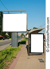 Two billboards - Street and the buss station blank...