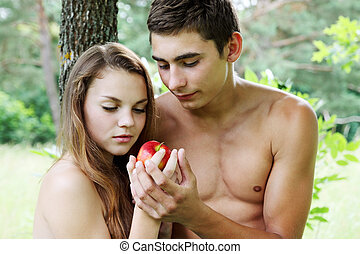 Adam and Eve with a red apple