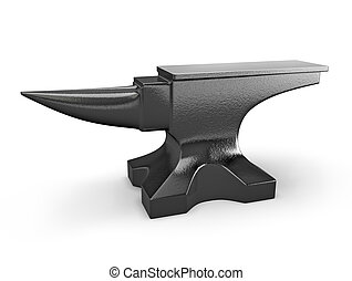 Black metal anvil isolated on white background