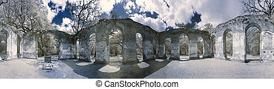 360 infrared photo of church ruin