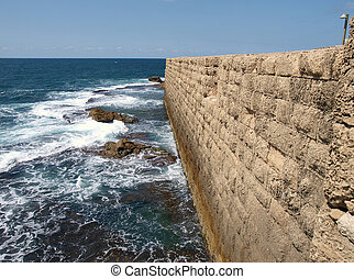 Sea wall Acre Akko Israel - Sea wall of the Historical old...