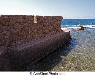Sea wall of Acre Akko Israel