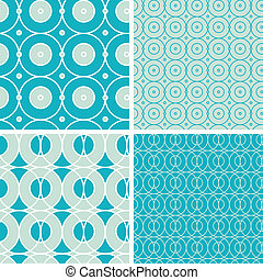 Abstract geometric circles seamless patterns set - vector...