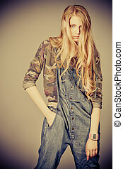 fashion girl - Beautiful fashion model posing at studio....