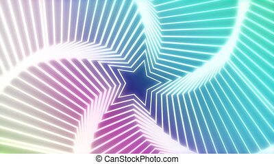 Star Radiation colorful background - The star glow rotating...
