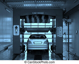 Car wash. - Automobile going through the car wash.