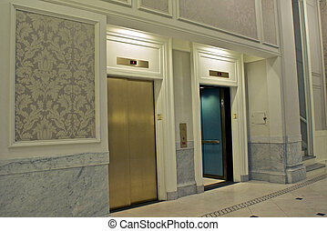 elevators in lobby - looking at twin elevators on first...