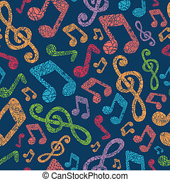 Colorful musical notes seamless pattern background