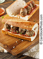 Hot and Homemade Spicy Meatball Sub Sandwich - Homemade...