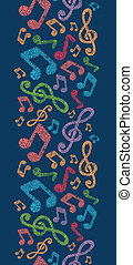 Colorful musical notes vertical seamless pattern background...