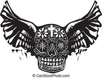 Day of the Dead Winged Skull - Woodcut style image of a...