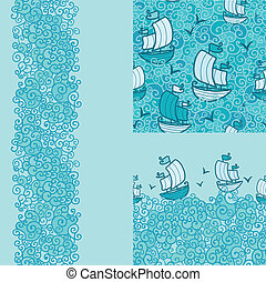 Set of three marine seamless pattern and borders backgrounds
