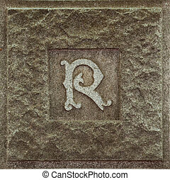letter r  - capital letter R on cemetery gravestone
