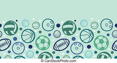 Sports balls horizontal seamless pattern background border -...