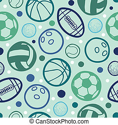 Sports balls seamless patterns backgrounds with hand drawn...