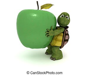 tortoise with an apple - 3D render of a tortoise with an...