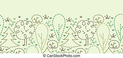 Vector embroidered forest horizontal seamless pattern background ornament with hand drawn elements