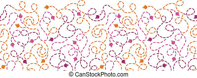 Abstract thread stitches horizontal seamless pattern...