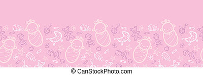 Baby girl pink horizontal seamless pattern background border...