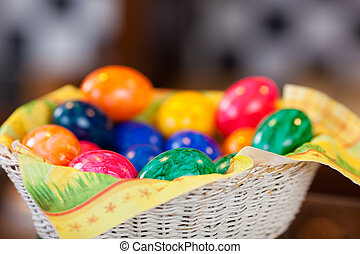 Basket of colorful Easter Eggs - Basket of colourful Easter...